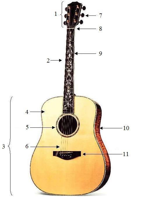bestandteile der gitarre gitarren unterricht. Black Bedroom Furniture Sets. Home Design Ideas